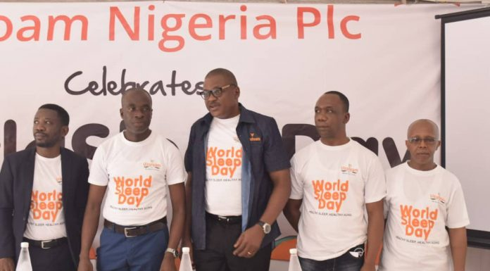 L-R; Consultant, Mental Health and Sleep Physician, Federal Neuro Psychiatric Hospital, Yaba, Dr Adeoye Adefemi, Commercial Director, Vitafoam Nigeria Plc, Mr. Sola Owoade, Finance Director, Vitafoam, Mr. Joseph Alegbesogie, General Manager, Vono Products Limited, Mr Joseph Musa,and Group Admin Head/Legal, Vitafoam, Mr. Olalekan Sanni at the commemoration of World Sleep Day in Lagos...