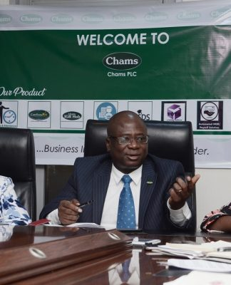 L-R, Executive Director, Finance, Strategy and Service , Chams Plc, Mrs Mayowa Olaniyan, Group Managing Director, Chams Plc, Mr Femi Williams, Executive Director, Innovation, Marketing and Corporate Communications, Mrs Funke AlomoOluwa at Press Interactive Session on the company's current status in Lagos on Tuesday.