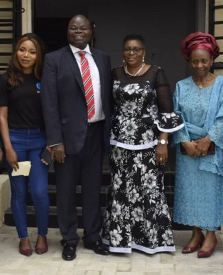 L-R, Chairman, Olusegun Osunkeye & Associates, Chief Olusegun Osunkeye, Managing Director, Ace Wash N Dry Laundromat, Miss Mojisola Oyedele, Chairman, Nikoy Nigeria Limited, Mr. Olawale Oyedele, Director, Nikoy Nigeria Limited, Mrs Adenike Oyedele, forever Governor and Wife, Central Bank of Nigeria, Dr and Mrs Joseph Sanusi at commissioning of Ace Wash N Dry Laundromat and Work Hive Co-Work Space in Lagos recently