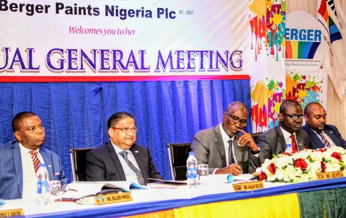 L-R: Independent Non-Executive Director, Berger Paints Nigeria Plc, Mr Nelson Nweke; Managing Director, Mr Anjan Sircar; Chairman, Mr Abi Ayida; Company Secretary/Legal Adviser, Mr Ayokunle Ayoko; and Non-Executive Director, Mr Adekunle Olowokande, during the annual general meeting of Berger Paints in Lagos... On Thursday.