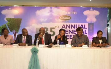 L- R; Chams Plc's Executive Director, Mrs Mayowa Olaniyan, Group Managing Director, Mr. Femi Williams, Non-Executive Director and representative of Chams' Chairman, Prof. Oye Ibidapo-Obe, Company's Secretary, Mrs Yetunde Emmanuel and Non-Executive Director, Sir, Demola Aladekomo and Executive Director, Mrs Funke AlomoOluwa at the company's 35th Annual General Meeting (AGM) in Lagos.
