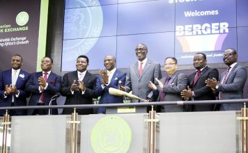 L-R: The Nigerian Stock Exchange's Head, Trading Division, Mr Jude Chiemeka, Non Executive Directors: Berger Paints Plc, Mr Nelson Nweke; Chief Musa Danjuma; Chief Executive Officer, The Nigerian Stock Exchange, Mr Oscar Onyema; Chairman, Berger Paints Plc, Mr Abi Ayida; Managing Director, Mr Anjan Sircar; Chief Operating Officer, Mr Tolulope Ogunkolade; and Company Secretary, Mr Ayokunle Ayoko, during Berger Paints Plc's closing gong ceremony at The Exchange yesterday.
