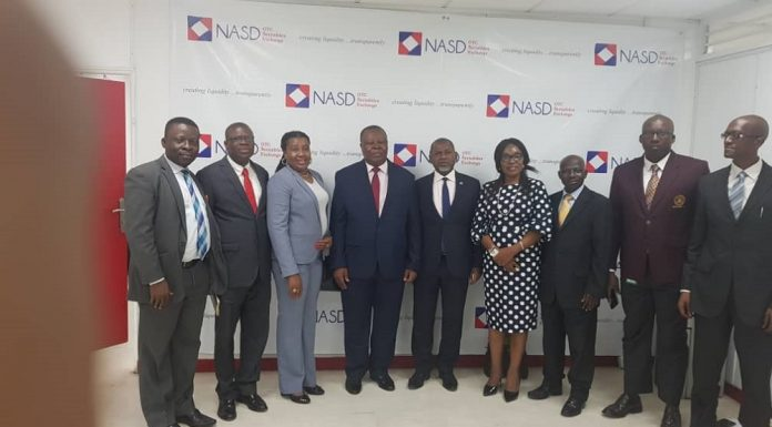 > L-R : Mr Athan. Ogbozor, Executive Secretary ASHON, Mr Dare Adejumo , Council Member, Ms Ify Ejezie, Council Member, Chief Onyenwechukwu Ezeagu, Chairman ASHON, Mr Bola Ajomale, Managing Director/CEO, NASD Plc, Mrs Olubunmi Ajayi, Treasurer ASHON, Mr Andy Tsaku, Council Member, ASHON, Mr Alex Anyogu, Stockbroker, APT Securities and Funds Limited) and Mr Mgbeahurike Onyebuchi, Stockbroker during the meeting of ASHON's Governing Council and NASD's Management in Lagos recently.