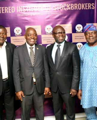 L-R: Chief Executive Officer, Ademola Omolehinwa & Comapny, Mr Ade Omolehinwa; Lecturer, Faculty of Law, University of Ilorin, Prof Uwakwe Abugu; Past President, Chartered Institute of Stockbrokers, (CIS), Mr Mike Itegboje; 2nd Vice President, CIS, Mr Oluwole Adeosun; Deputy Vice Chancellor, Adeleke University, Ede, Prof Solomon Adebola; and CIS' Head, Training and Continuing Professional Development (CPD), Mr Chukwudi Nga, at the CIS' stream Three Executive Conversion Programme in Lagos yesterday.