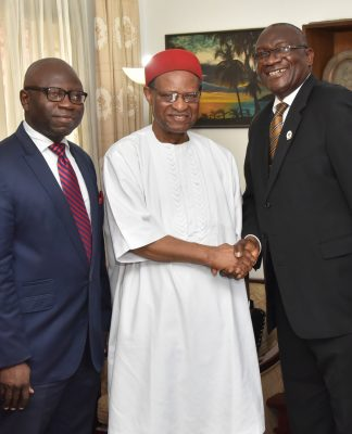 L-R: Registrar and Chief Executive, Chartered Institute of Stockbrokers (CIS), Mr Adedeji Ajadi, 2nd Vice President, CIS, Mr Oluwole Adeosun, former Secretary General, Commonwealth, Chief Emeka Anyaoku, President and Chairman of Council, CIS, Mr Adedapo Adekoje, and 1st Vice President, CIS, Mr Olatunde Amolegbe, during courtesy visit of CIS' Principal Officers to Anyaoku in Lagos, recently