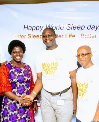 L-R: Head, Vitafoam Comfort Centre, Adeniyi Jones, Mr Abiola Lawal; Finance Director, Vitafoam Nigeria Plc, Mr Joseph Alegbesogie; Guest speaker, Mrs Modupe Adesanya; Group Managing Director, Vitafoam Nigeria Plc, Mr Taiwo Adeniyi; Company Secretary/Legal Adviser, Mr Olalekan Sanni; and Commercial Director, Vitafoam Nigeria Plc, Mr Bamidele Owoade, at the Vitafoam World Sleep Day 2020 in Lagos.. on Friday.
